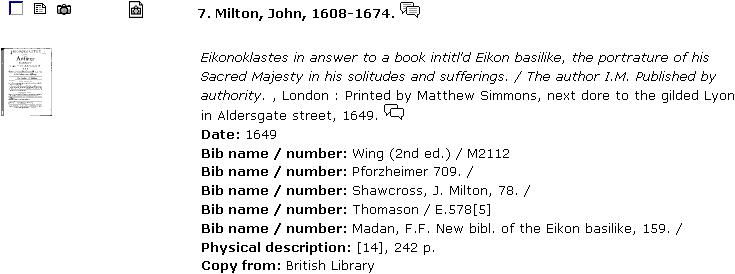 EEBO record for Eikonoklastes