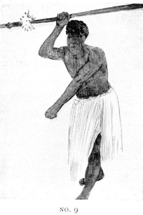 Drawing of man holding spear