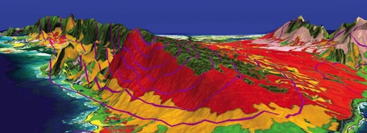 Image of multicolored topgraphical map of Hawaii Island.