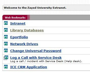Figure 2, Extranet list of options