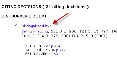 Scroll down to CITING DECISIONS, looking for the phrases listed below:  Overruled by: Sets a precedent that the original ruling is no longer to be considered valid law.  Criticized by: Disagrees with the original ruling, but the court lacks authority to overrule it.  Distinguished by: Argues that a ruling is valid precedent under one set of facts but not another.  Limited by: Sets a precedent that a prior ruling applies only in specific, limited circumstances.  Questioned by: Questions whether a prior ruling is still valid precedent, but does not overrule it.