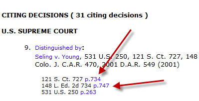 To read the relevant section of a citing case, click on the page number for each citation.