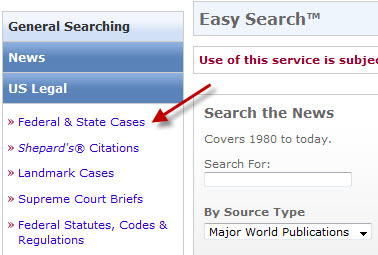 Click on the Federal & State Cases search form option.