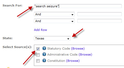 Type your subject in the search box.  Select a State and choose an options from the Select Source(s) menus: