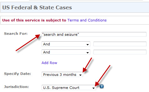 Type your subject in the search box. Then change the Specific Date and Jurisdiction options.  When typing your search, put phrases inside quotation marks.  For more advanced strategies, see Connectors for Complex Topics.