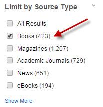 Choose SOURCE TYPE books