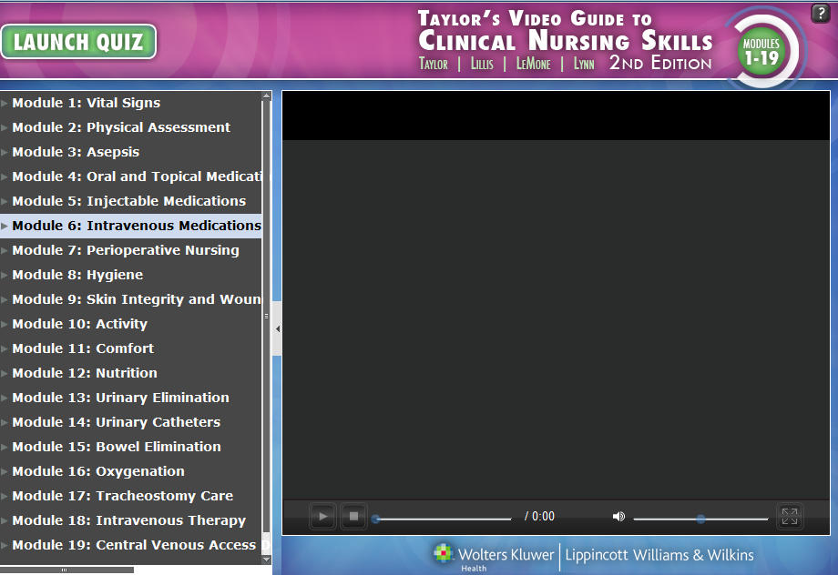 Screenshot table of content of Taylor's video guide to Clinical Nursing Skills modules 1-19