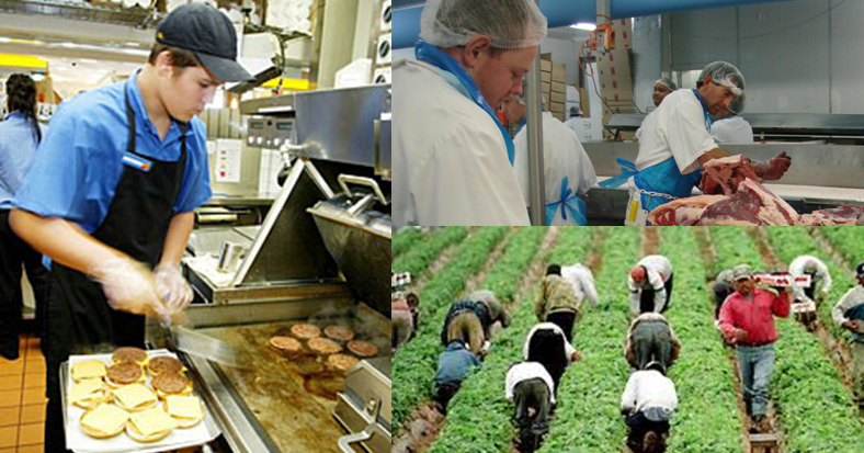 food production: harvesters, cooks, and butchers