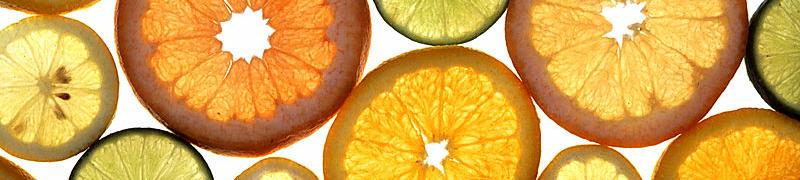 Image of citrus fruits cut cross-sectionally.