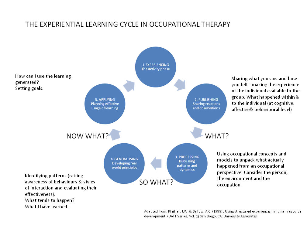 Experiential learning cycles in occupational therapy: 1. Experience: the activity phase. 2. Publishing: sharing reactions and observations. (what?) 3. Processing: discussing patterna and dynamics. (so what?) 4. Generalising: developing real world principles. (now what?) 5. Applying: planning effective usage of learning.