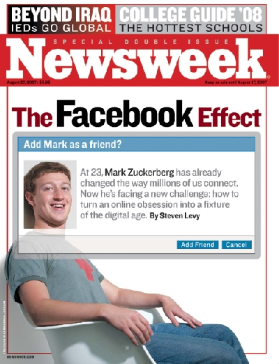 A picture of Mark Zuckerberg on the cover of Newsweek magazine