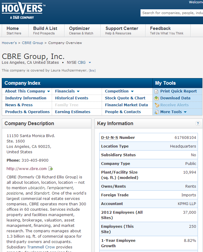 CBRE Hoovers report