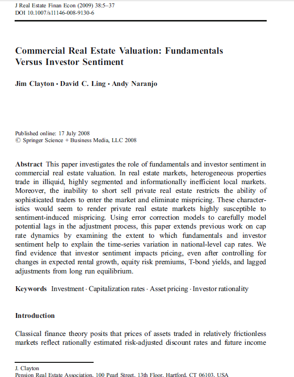 Commercial Real Estate Valuation
