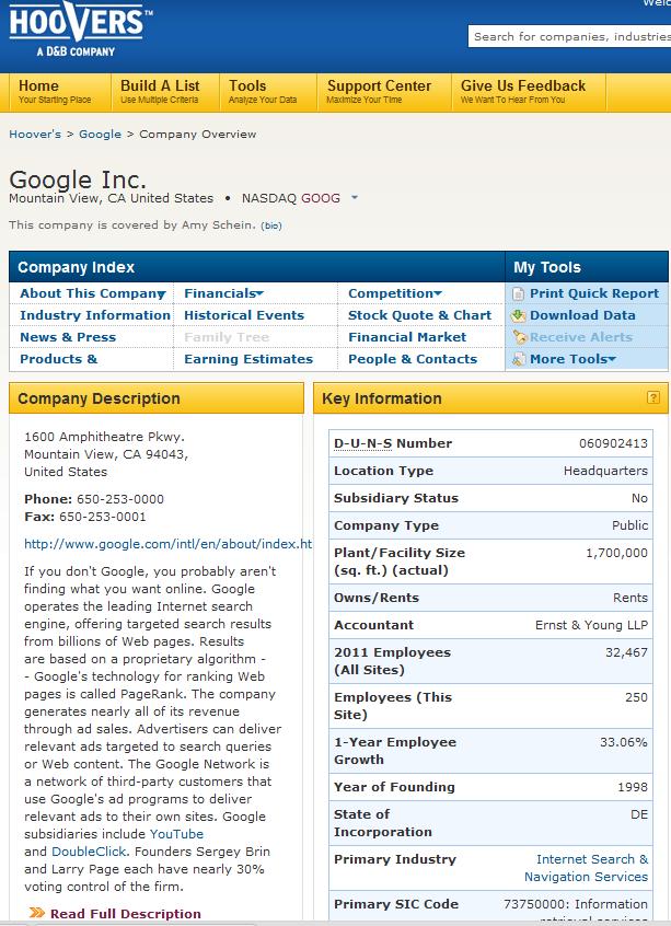 Hoovers Google Profile
