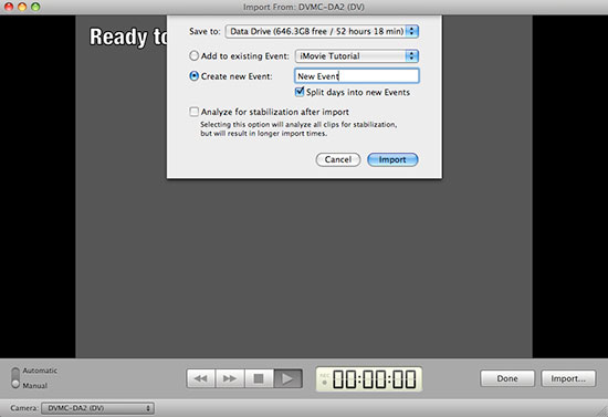 iMovie Capture window - create event