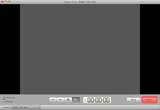 iMovie Capture window