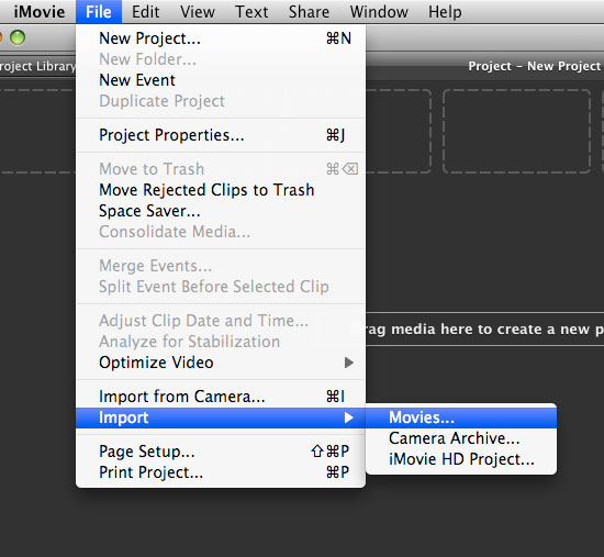 iMovie import movies from the File menu