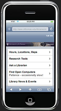 UST Libraries Mobile site