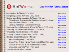 RefWorks Tutorials.