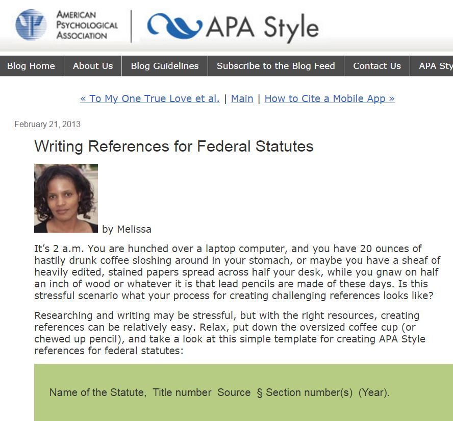 APA blog Writing References for Federal Statutes