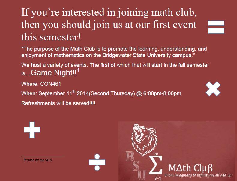 Math Club Game Night poster