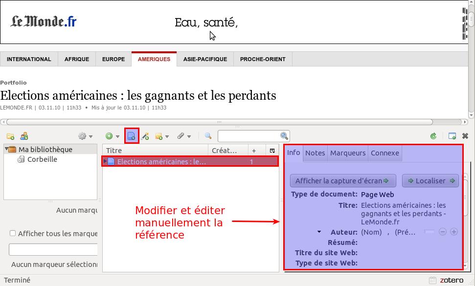 Editer une référence manuellement