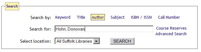 Screenshot of the Library Catalog: Author search: Last name, first name.