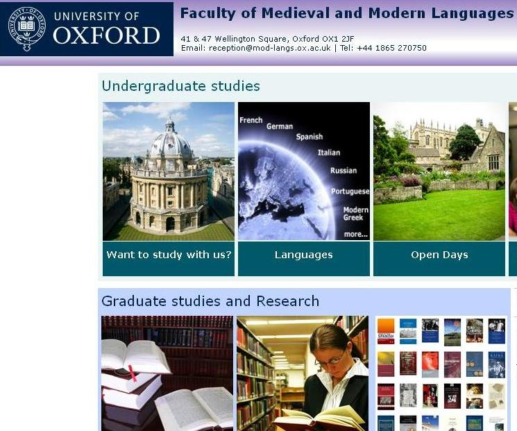 Faculty of Medieval & Modern Languages, website detail