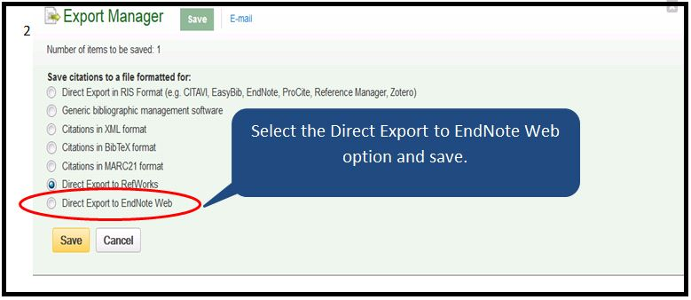 Select Direct Export to EndNote Web option and save