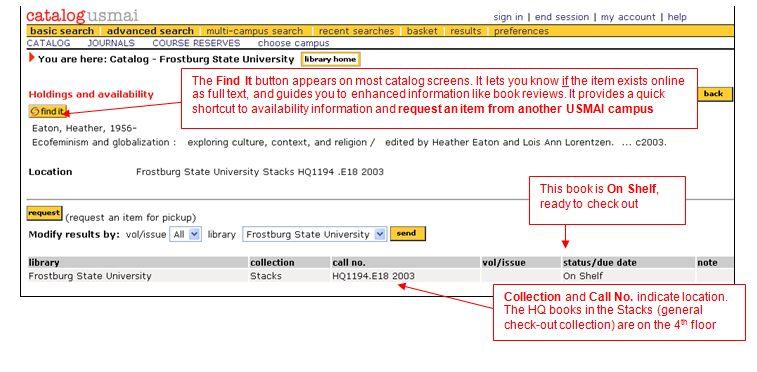Catalog Availability Screen