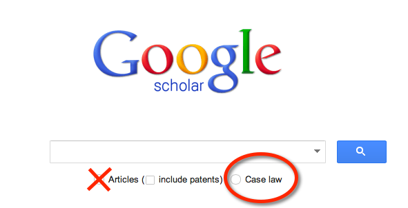 In Google Scholar, choose Case law under the main search field to restrict your searches to cases only.