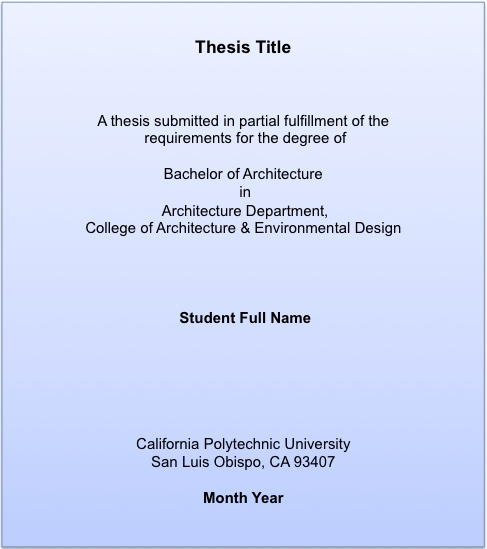 Senior Thesis Cover Page Template