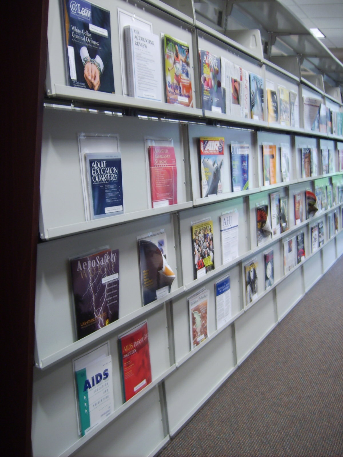 periodical shelves on the Macon campus