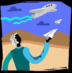 A man with a paper airplane looks up at a blue sky with an airplane flying by.