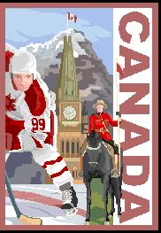 A drawing of a hockey player with a maple leaf on his uniform, a clock tower, and a mounted polic officer represents Canada.