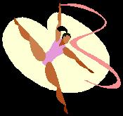 A clipboard image of a ballet dancer doing a ribbon dance.