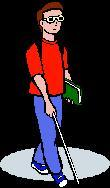 A blind man with glasses is walking with a cane.