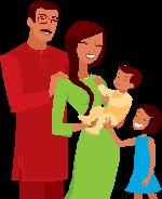 An image of a family: father, mother, baby boy, and little girl.