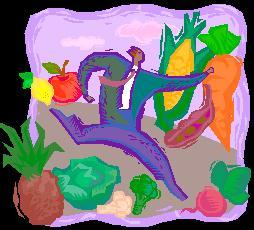 A drawing of a man running through vegetables.