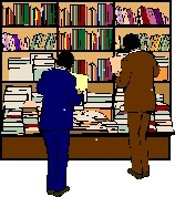 Two people stand in front of shelves full of information.