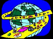 Earth with Cars Driving Around On Yellow Road