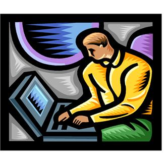 Drawing of a Man On a Computer