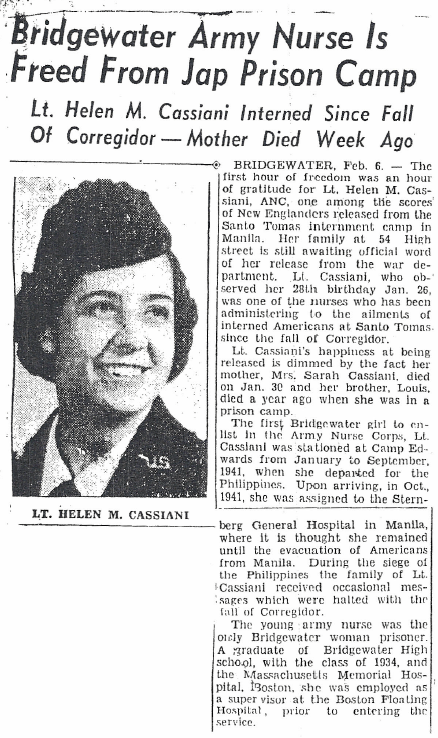 image of newspaper story Bridgewater Army Nurse is freed from Jap prison camp
