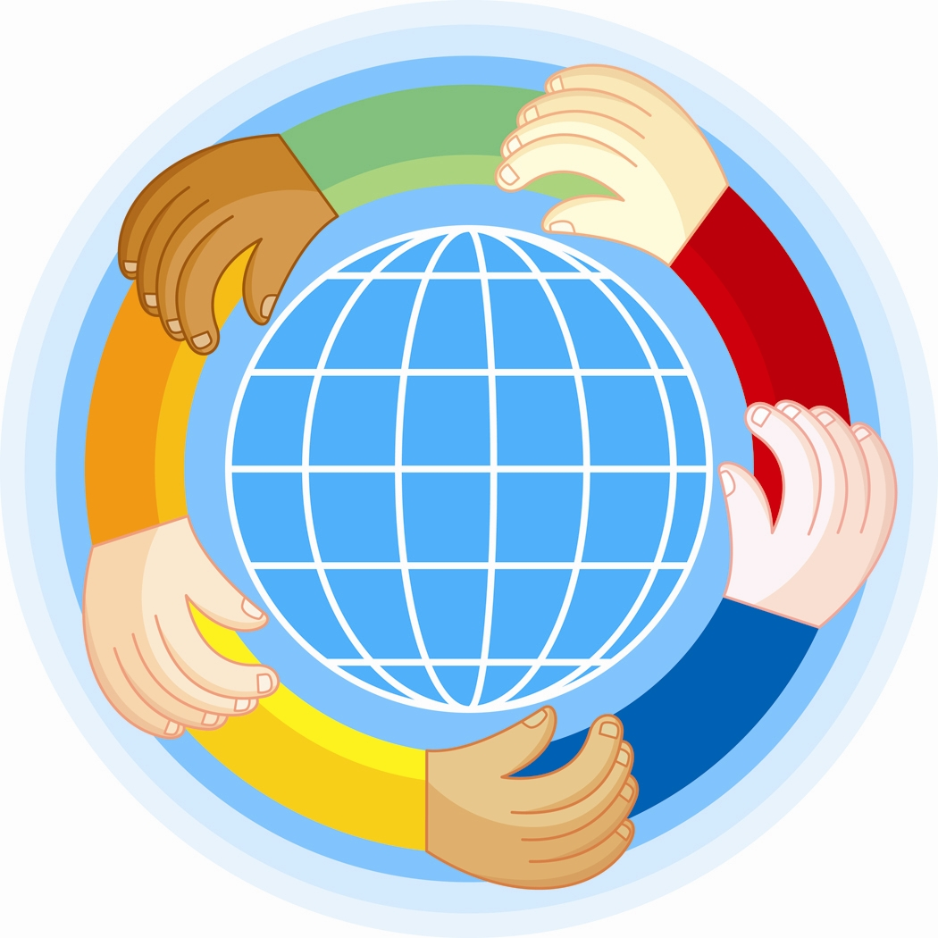 a clipart image shows a globe surrounded by hands representing multiple ethnicities