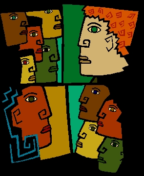 A clipart image shoues faces: brown, tan, peach, and green looking at each other.