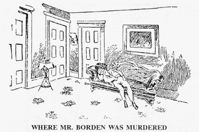 Illustration depicting where Lizzie Borden's father was murdered