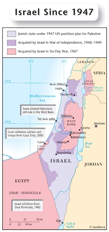 map of Israel since 1947