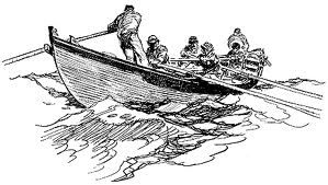 image of men in rowing in whale boat