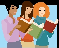 Three young women reading