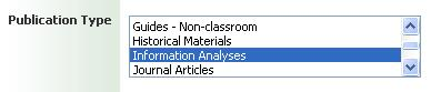 Publication type selector in ERIC showing Information Analyses selected